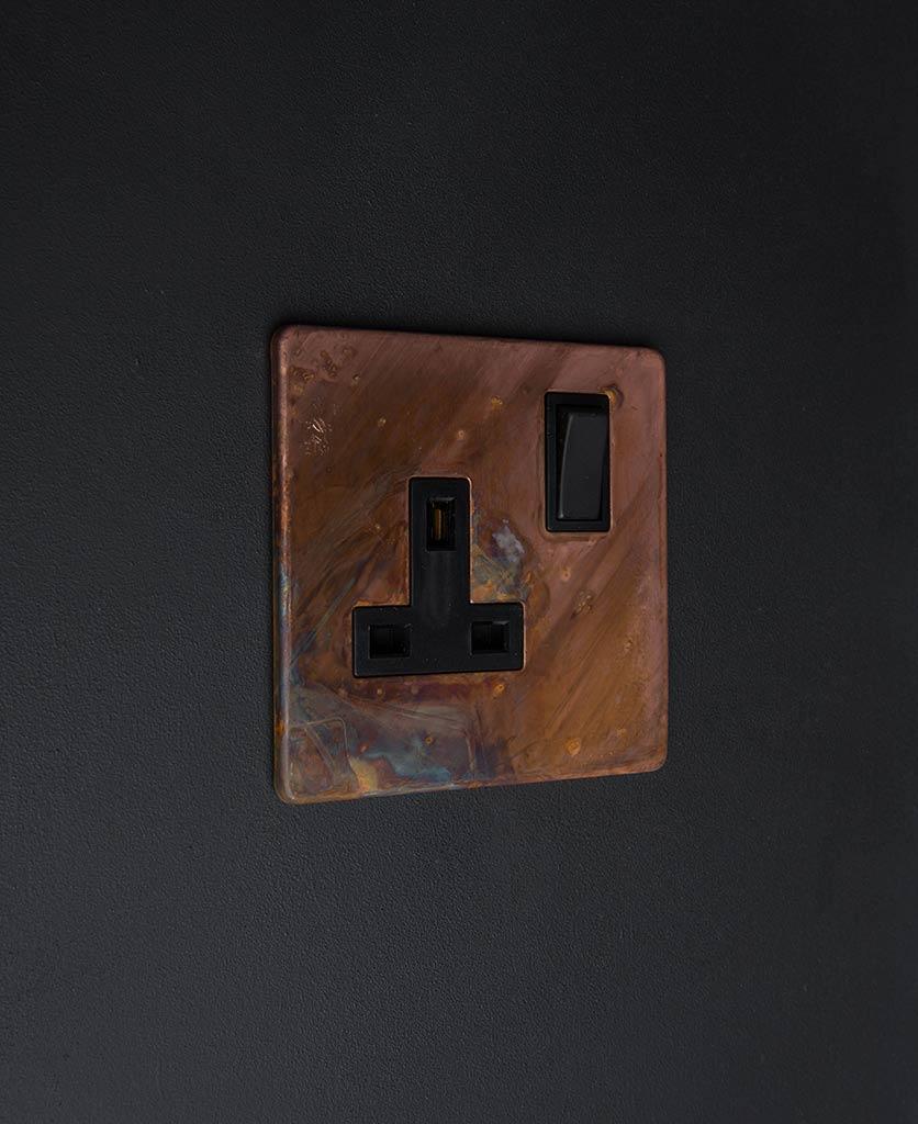 copper & black single plug socket