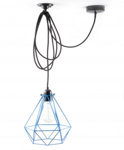 diamond cage pendant light blue