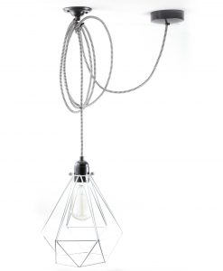 diamond cage pendant light white