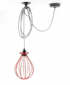 balloon cage pendant light red