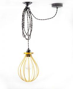 balloon cage pendant light yellow