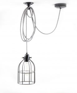 Domed cage pendant light black