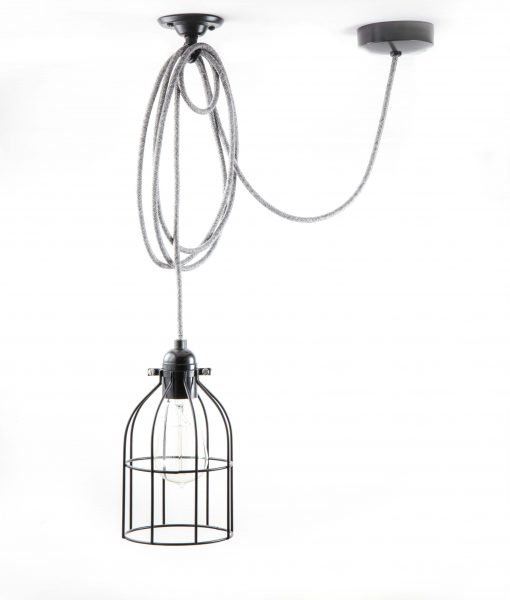 Domed cage pendant light black
