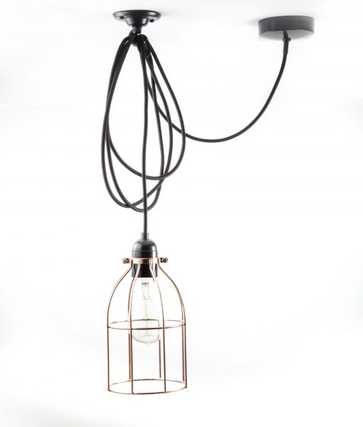 Domed cage pendant light polished copper