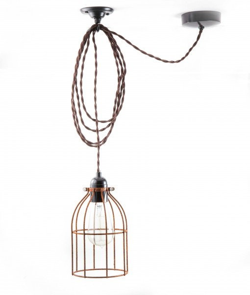 domed cage pendant light 28 day aged steel