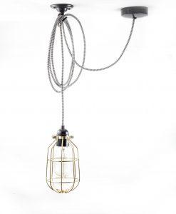 Drop cage pendant light fool's gold
