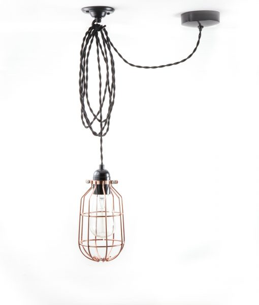 drop cage pendant light polished copper