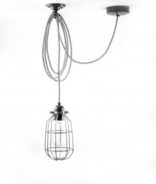 drop cage pendant light raw steel