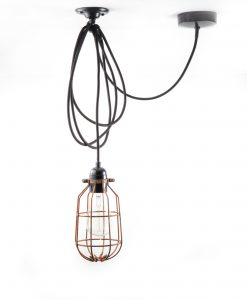 drop cage pendant light tarnished copper