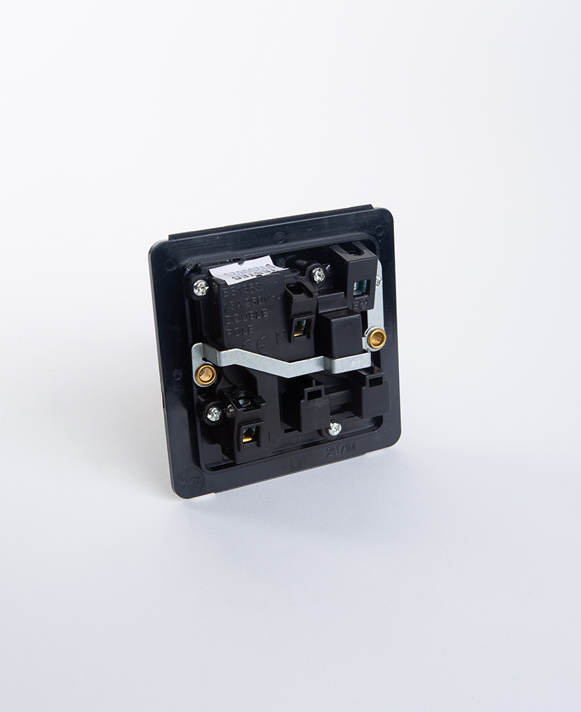 back view of single wall socket back plate against white background