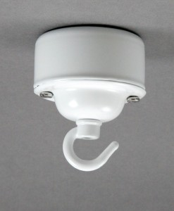 Conduit Box Ceiling Rose Hooked White