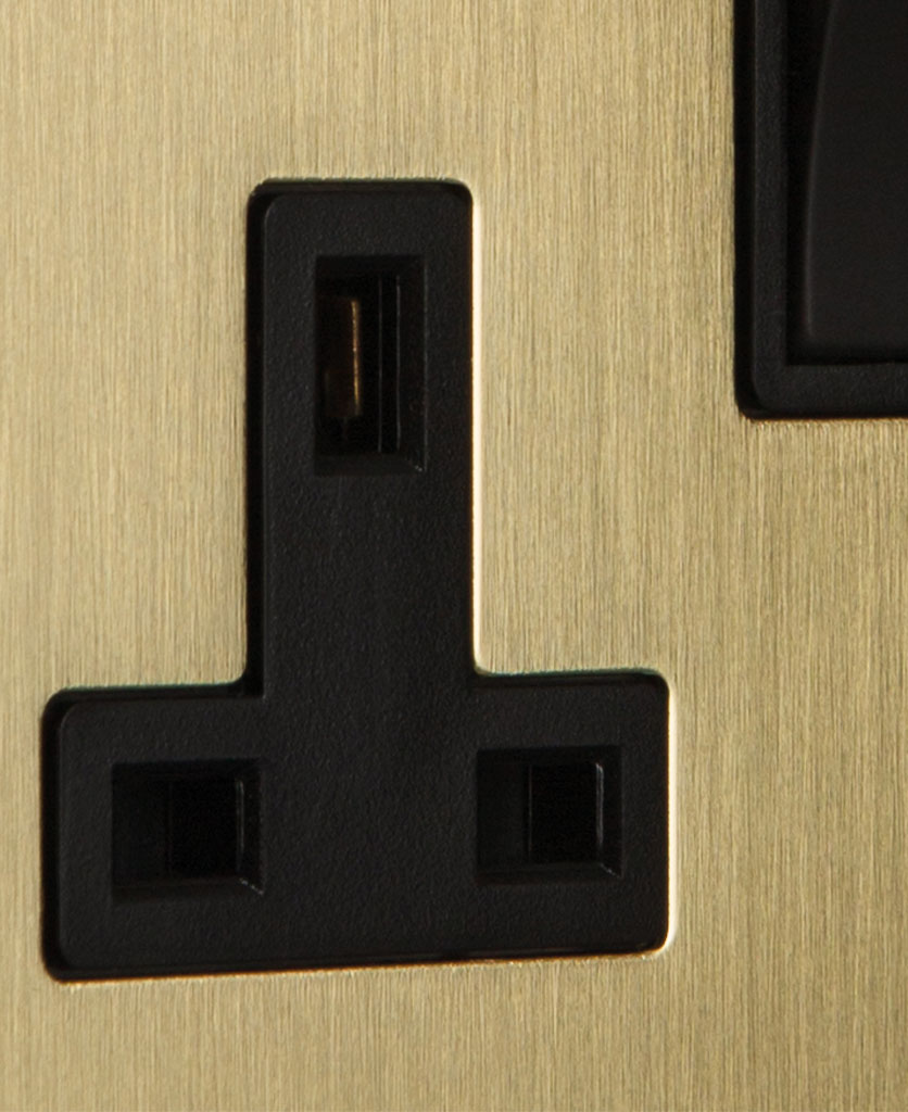 closeup of gold double plug socket with black insert