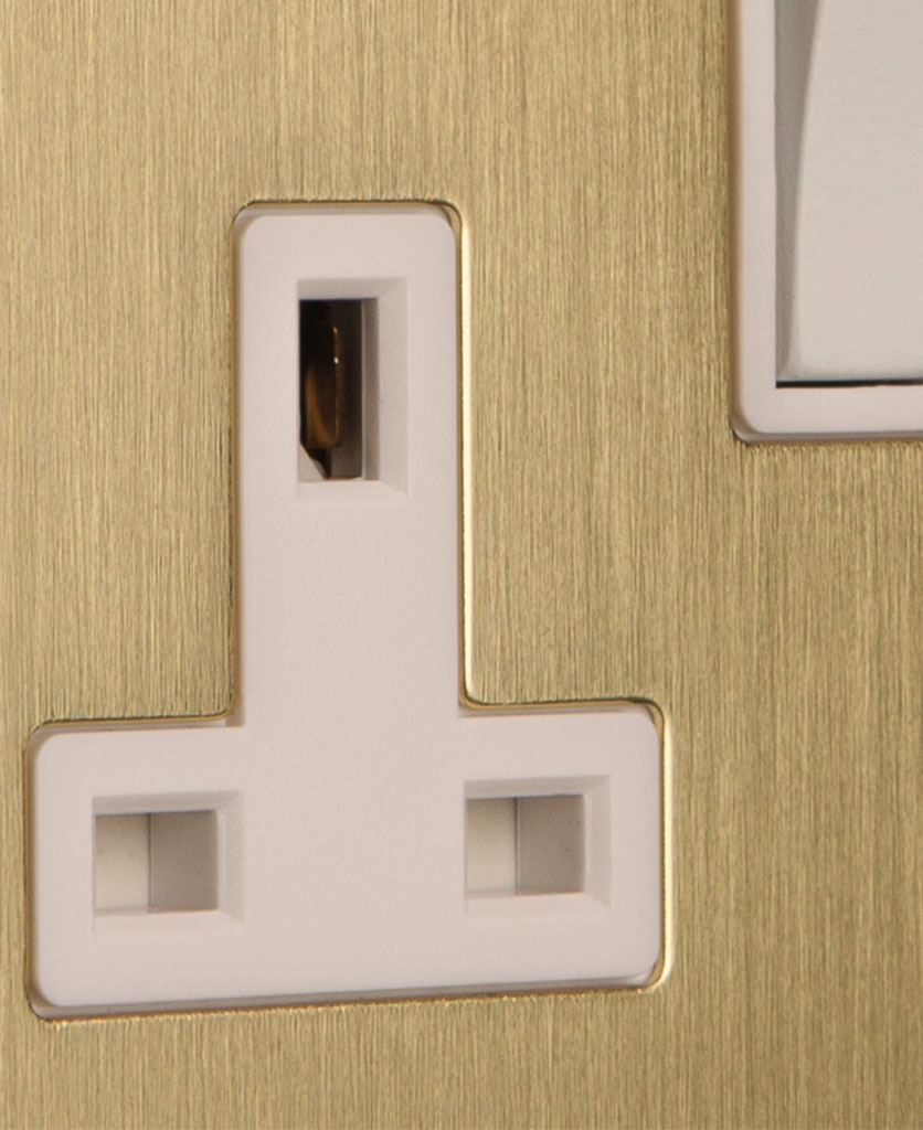 closeup of gold double socket with white insert