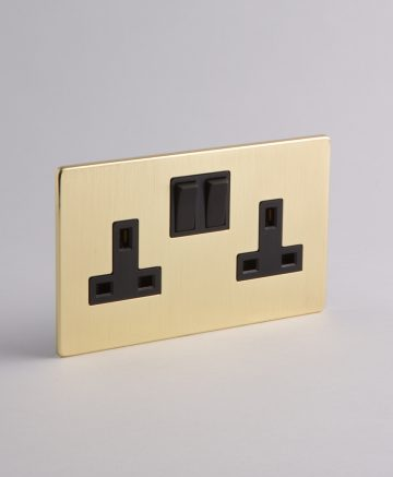 2 gang gold plug socket