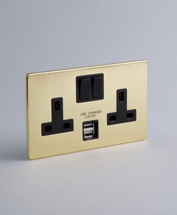 2 gang gold USB plug socket