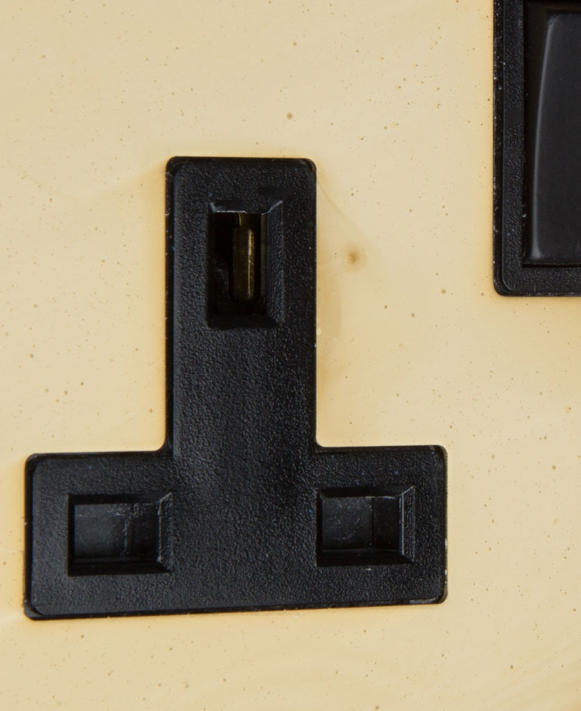 smoked gold and black double socket close up