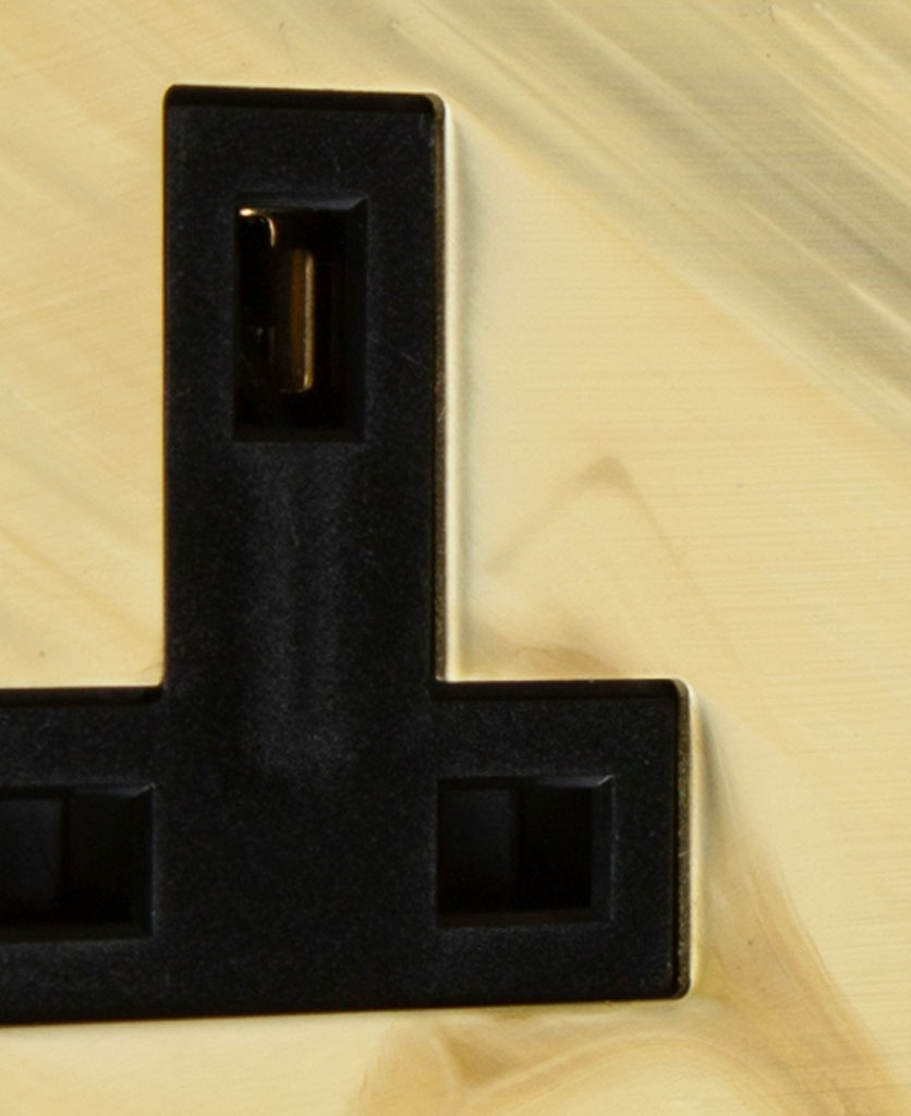 smoked gold and black double unswitched socket close up