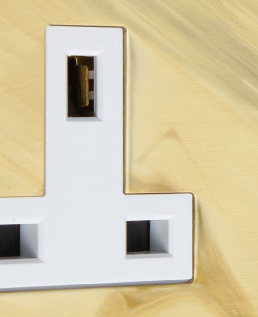 smoked gold and white double unswitched socket close up