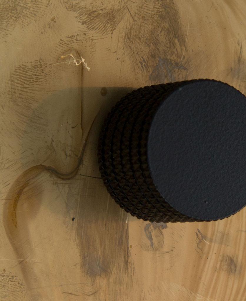 smoked gold single dimmer black knob close up