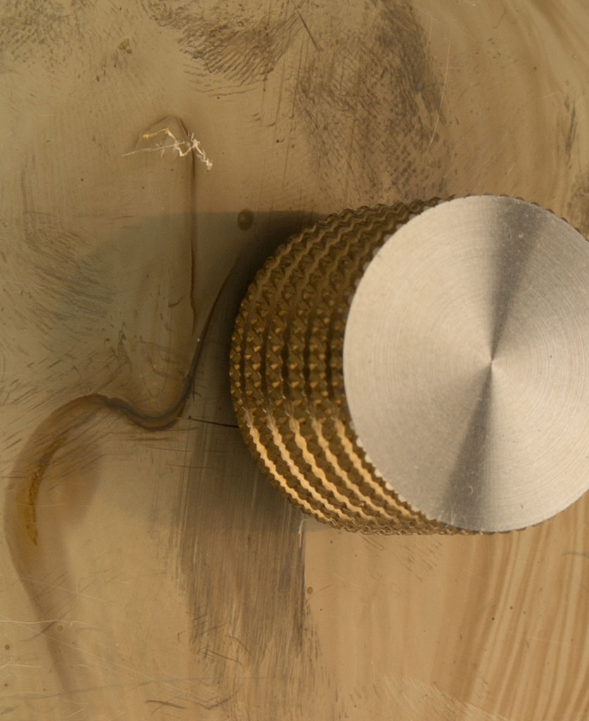 smoked gold single dimmer gold knob close up