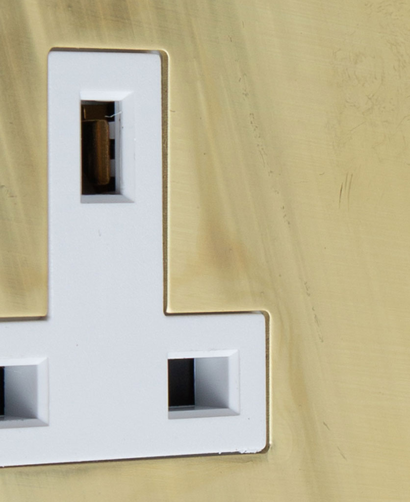 smoked gold and white single unswitched socket close up