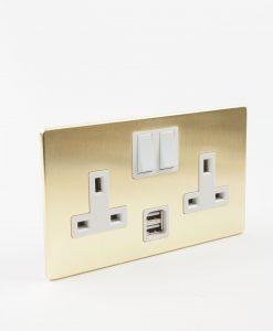 brass socket, 2 gang gold USB plug socket