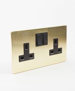 Brass Socket, 2 Gang Gold Plug Socket with Black Inserts