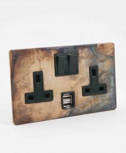 Double Plug Socket USB Smoked Gold Black