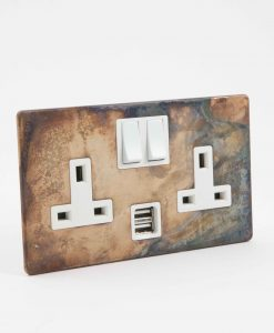 double plug socket usb smoked gold & white