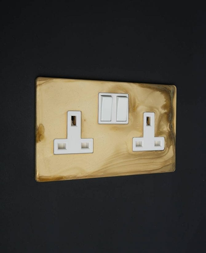 smoked gold & white double socket