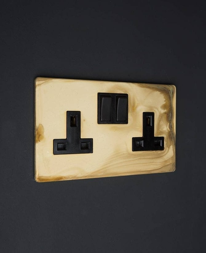smoked gold & black double socket