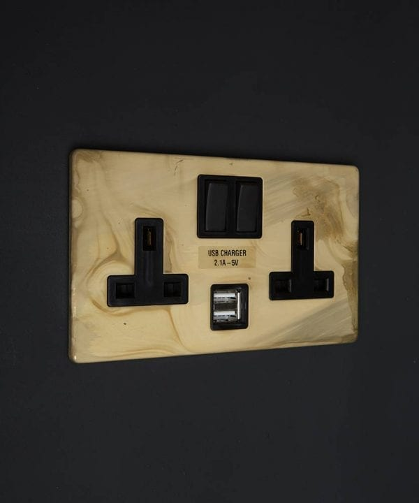 smoked gold & black double socket usb
