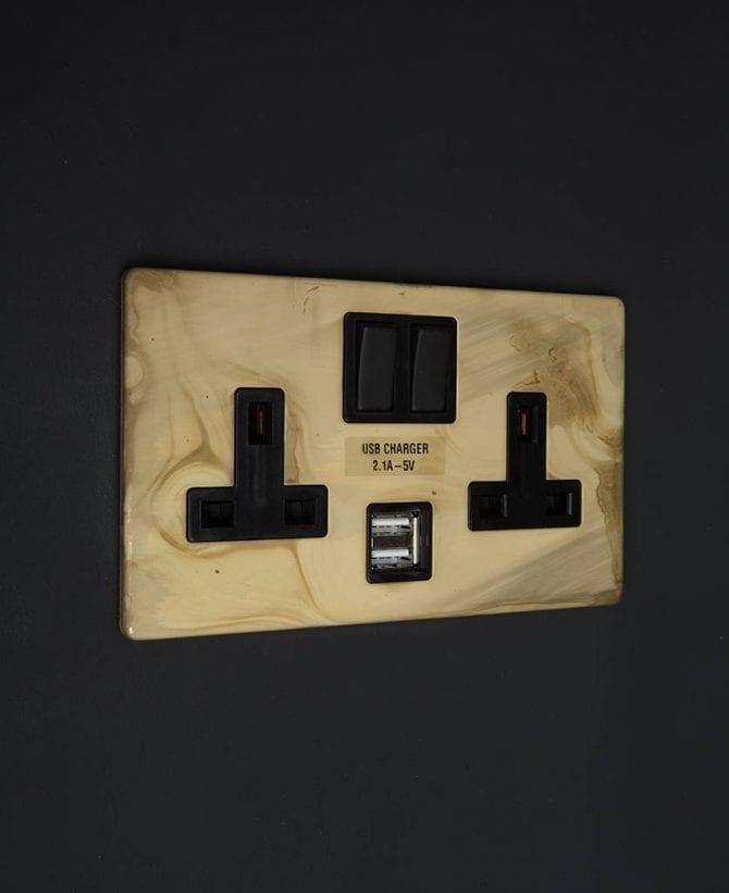 smoked gold & black double socket usb