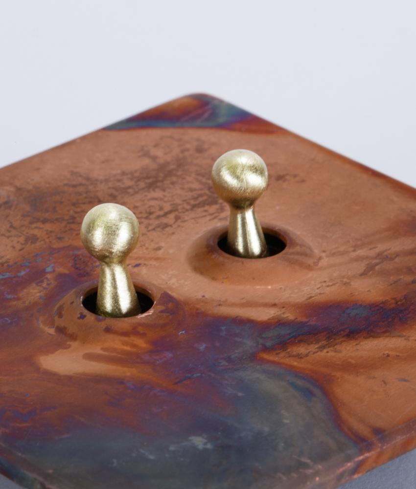 Toggle Light Switch 2 Toggle Copper u0026 Gold Designer Switch