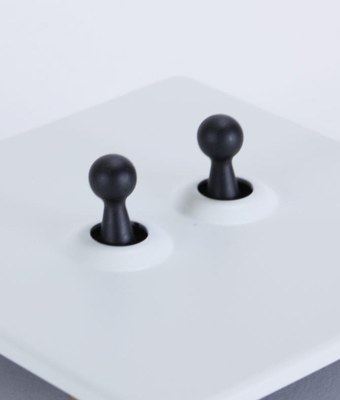 closeup of white and black double toggle switch against white background