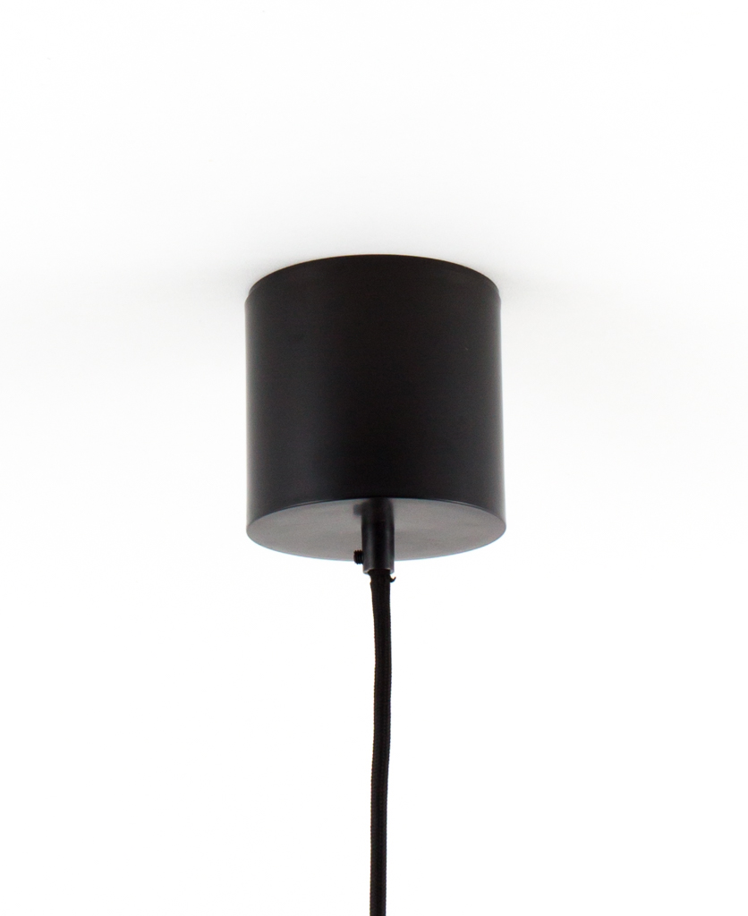 geometric pendant light ceiling rose black with black fabric cable against white background