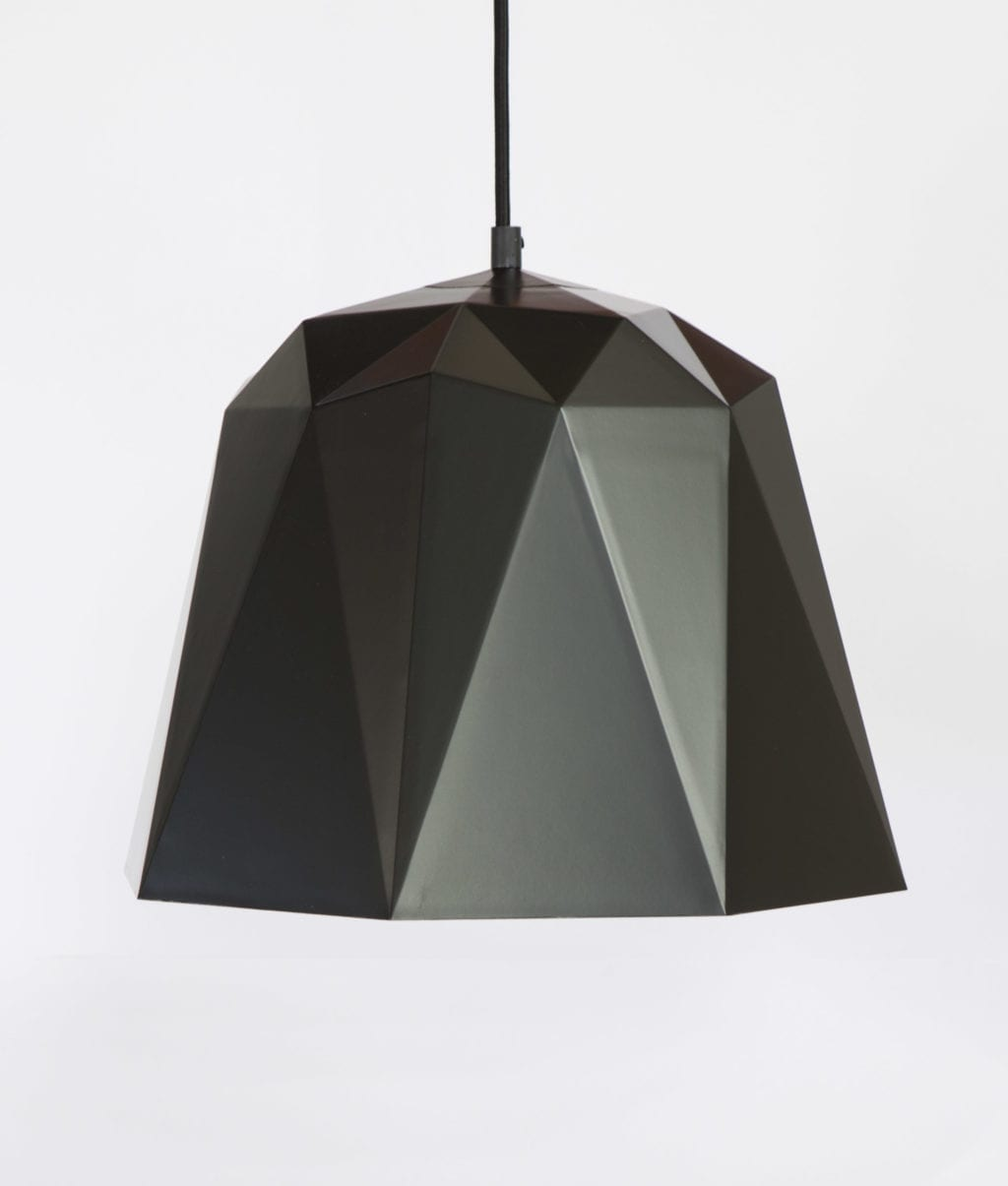 osaka black pendant light with black fabric cable against white wall