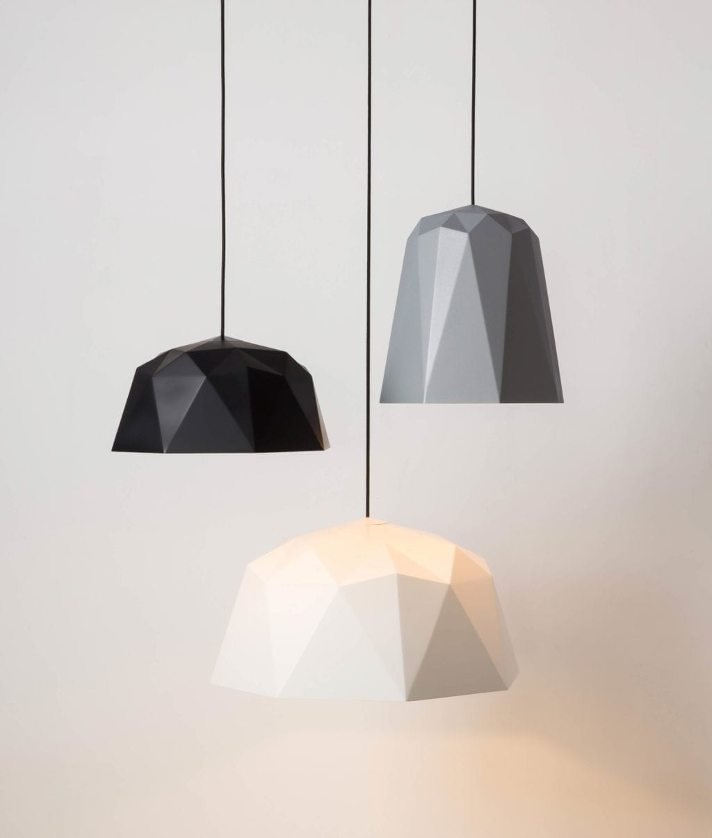 new geometric pendant light shade range suapended against a white background
