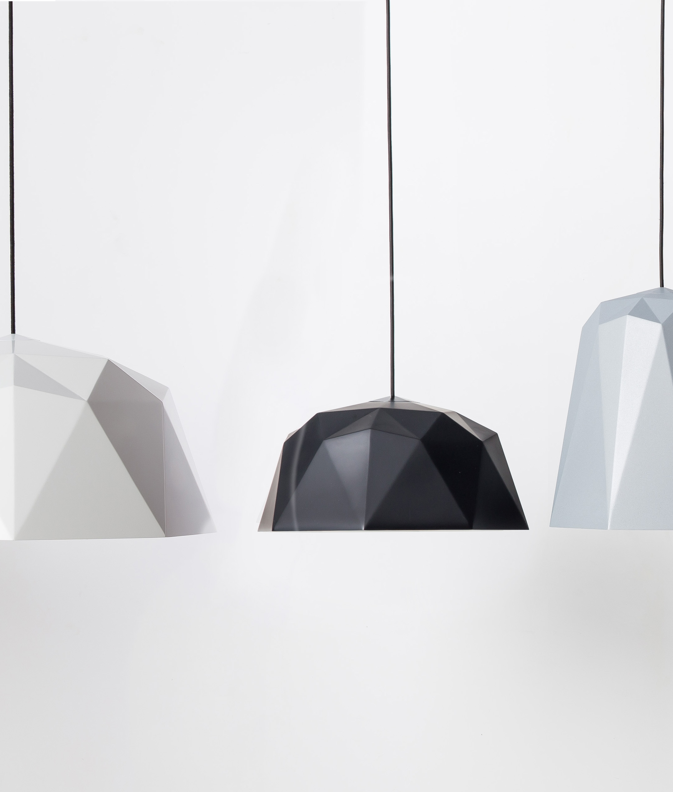 Osaka Geometric Pendant Light In White Black Amp Silver