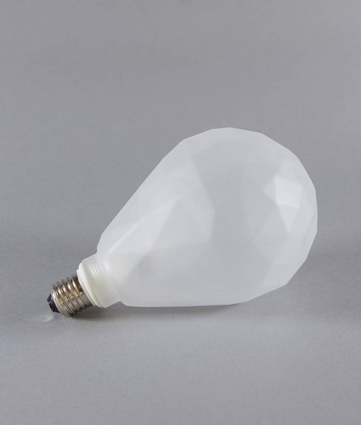 geometric light bulb frosted pear