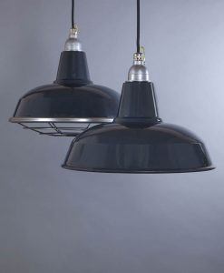 Burley Grey Industrial Lighting - Enamel Industrial Kitchen Lighting Pendant