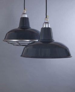 Burley Grey Industrial Lighting - Enamel Industrial Kitchen Lighting Pendant