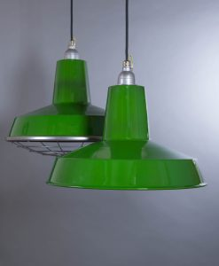 Green enamel pendant light Linton