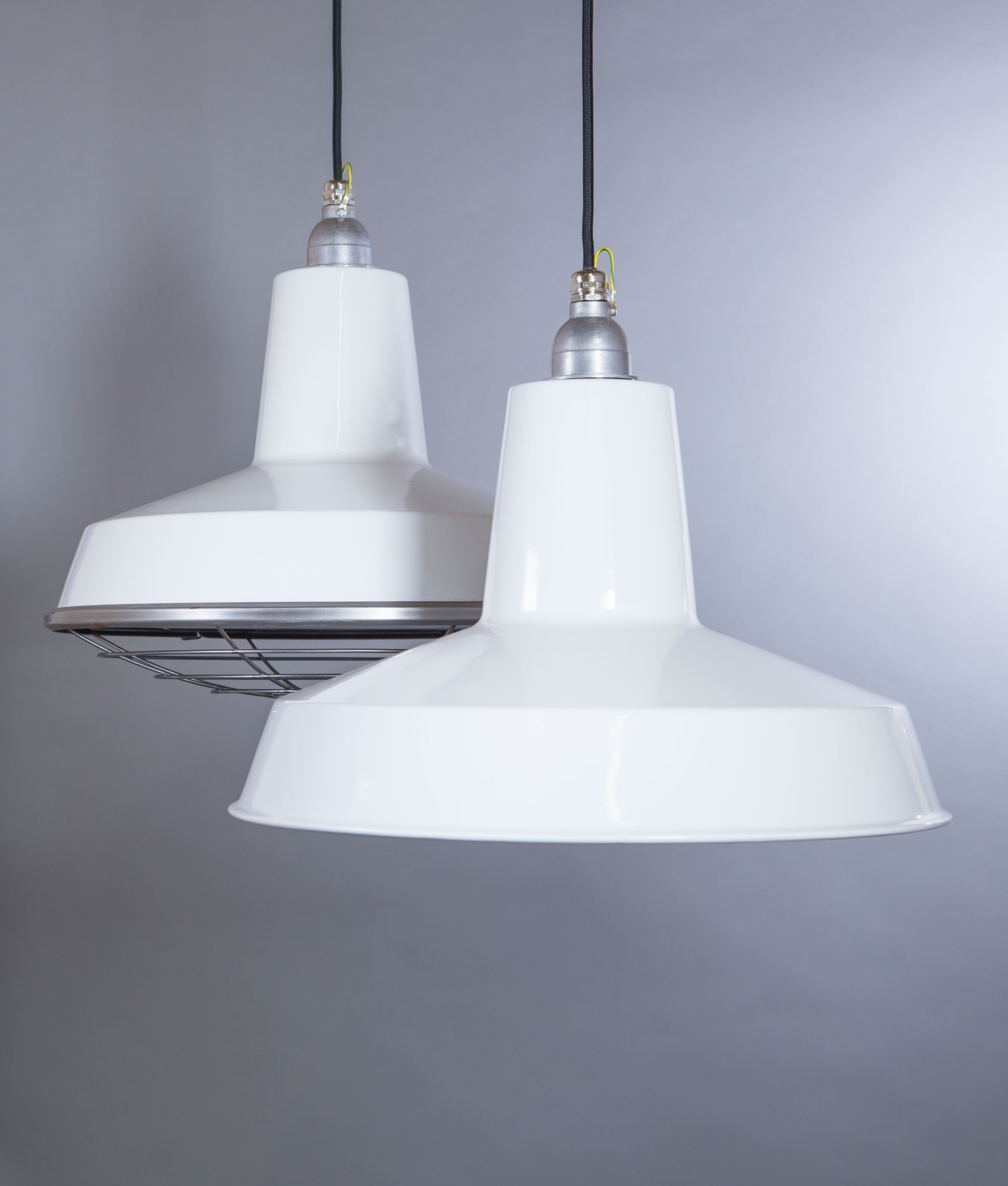 White Enamel Pendant Light Linton Industrial Style Light