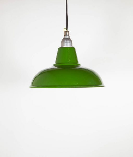 green enamel pendant light