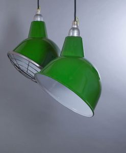 Oulton green industrial lighting; green enamel shade with fabric cable