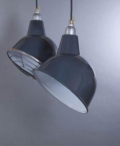 Oulton Grey Industrial Lighting - Grey Enamel Industrial Kitchen Lighting