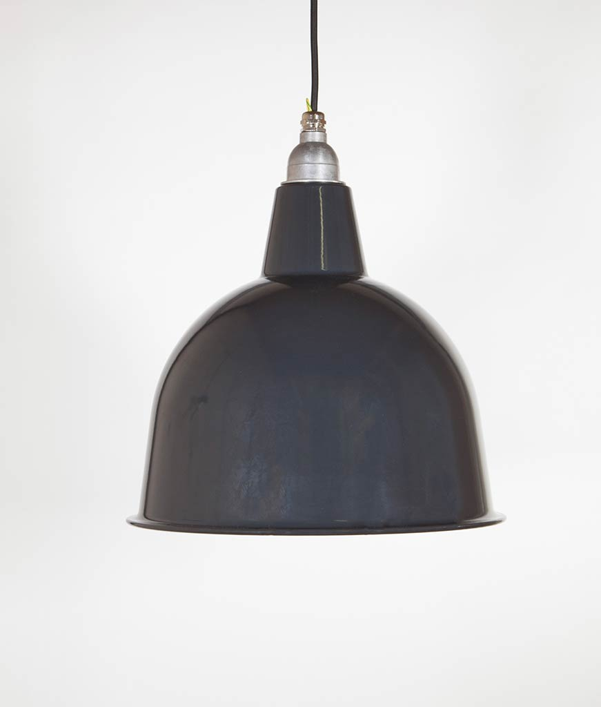 stourton grey enamel metal pendant lights suspended from black fabric cable against white wall