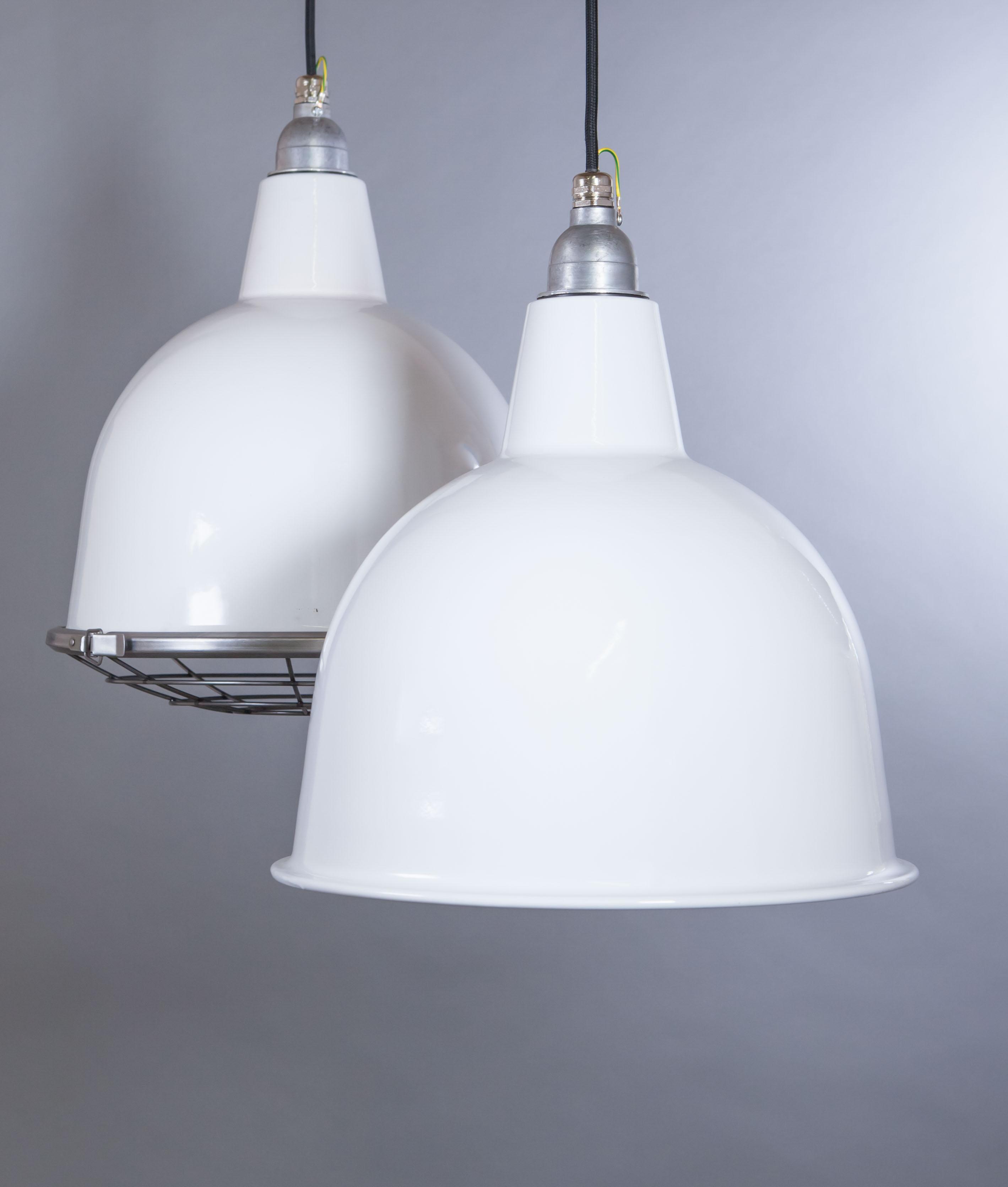 White Enamel Pendant Light Stourton Industrial Style