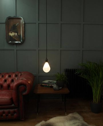 geometric pear light bulb frosted